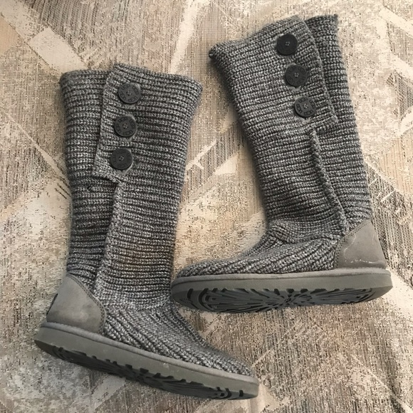 9fd44555147 UGG | Gray Purl Cardy Knit Womens Boots Size 7